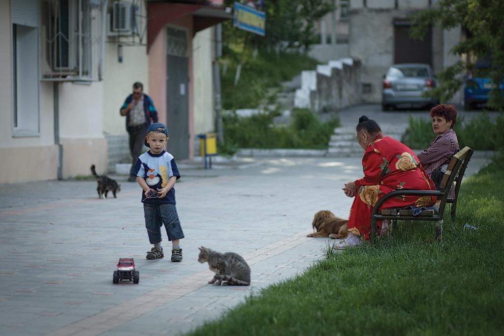 Новороссийск. Ребенок с машинкой, коты, бабульки во дворе. Фото Андрей Бондаренко
